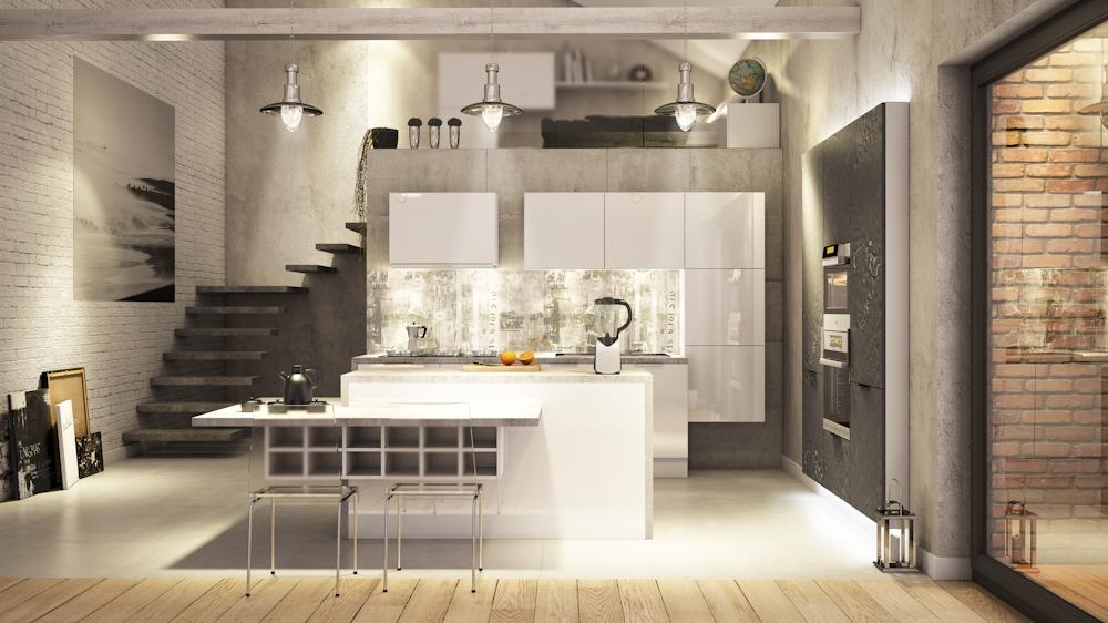 Kuchnia w stylu Loft  Industry  Funkcjonalna kuchnia   -> Mala Kuchnia Loft