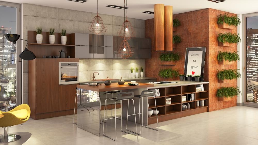 Wielkomiejska nowoczesność  Funkcjonalna kuchnia, projektowanie kuchni, kuch   -> Salon Kuchnie Rust